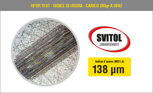 HFRR Test - Indice di usura - Carico 200 gr a 50 Hz